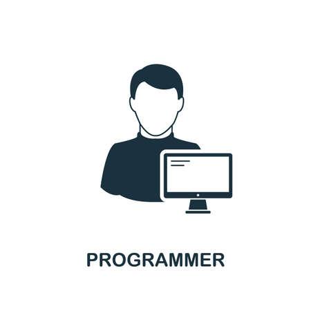 Icône de programmeur. Conception de style monochrome de la collection de professions. UI. Icône de programmeur de pictogramme simple parfait pixel. Conception Web, applications, logiciels, utilisation de l'impression.