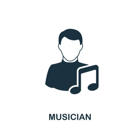 Musician icon. Monochrome style design from professions collection. UI. Pixel perfect simple pictogram musician icon. Web design, apps, software, print usage.