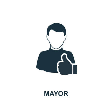 Icône du maire. Conception de style monochrome de la collection de professions. UI. Icône de maire de pictogramme simple parfait pixel. Conception Web, applications, logiciels, utilisation de l'impression.