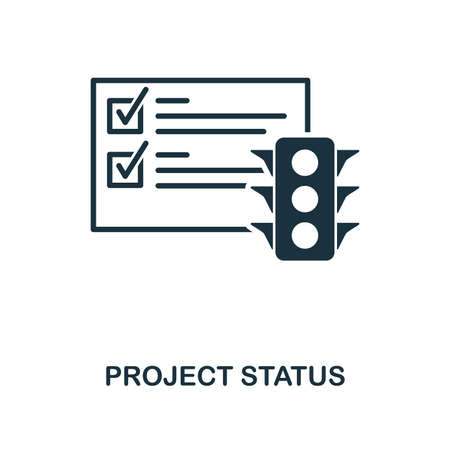 Project Status icon. Monochrome style design from management collection. UI. Pixel perfect simple pictogram project status icon. Web design, apps, software, print usage.