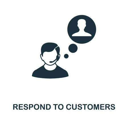 Respond To Customers icon. Monochrome style design from management collection. UI. Pixel perfect simple pictogram respond to customers icon. Web design, apps, software, print usage. 向量圖像