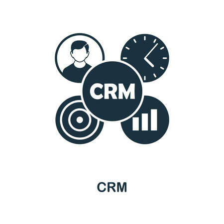 CRM icon. Monochrome style design from management collection. UI. Pixel perfect simple pictogram crm icon. Web design, apps, software, print usage.