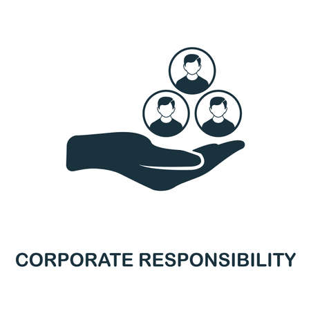 Corporate Responsibility icon. Monochrome style design from management collection. UI. Pixel perfect simple pictogram corporate responsibility icon. Web design, apps, software, print usage.