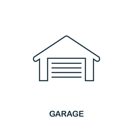 Garage icon. Simple element illustration. Garage outline icon design from real estate collection. Web design, apps, software and print usage. Zdjęcie Seryjne