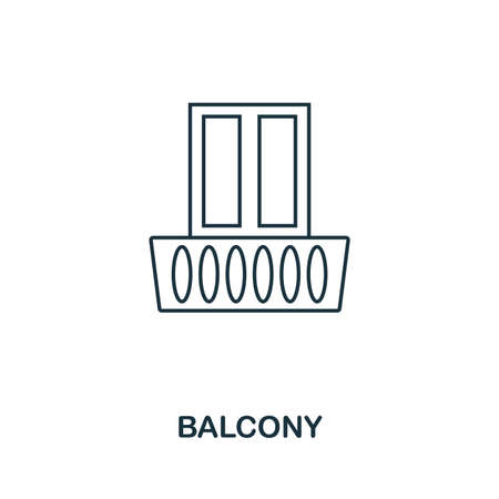 Balcony icon. Simple element illustration. Balcony outline icon design from real estate collection. Web design, apps, software and print usage. Banco de Imagens