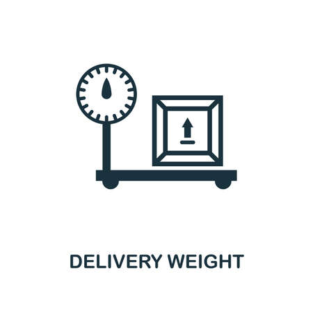 Delivery Weight icon. Monochrome style design from logistics delivery collection. UI. Pixel perfect simple pictogram delivery weight icon. Web design, apps, software, print usage. Stock Illustratie