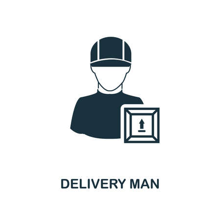 Delivery Man icon. Monochrome style design from logistics delivery collection. UI. Pixel perfect simple pictogram delivery man icon. Web design, apps, software, print usage. Foto de archivo