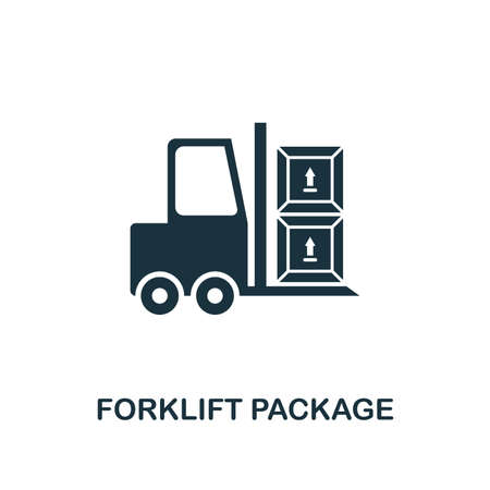 Forklift Package icon. Monochrome style design from logistics delivery collection. UI. Pixel perfect simple pictogram forklift package icon. Web design, apps, software, print usage.