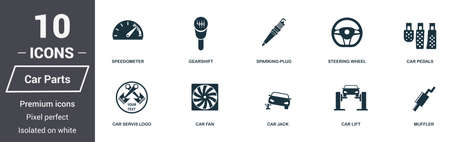 Car parts icons set. Premium quality symbol collection. Car parts icon set simple elements. Ready to use in web design, apps, software, print