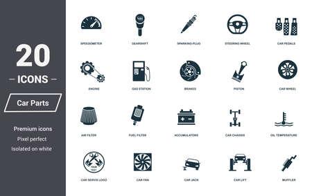 Jeu d'icônes de pièces de voiture. Collection de symboles de qualité supérieure. Icône de pièces de voiture définie des éléments simples. Prêt à utiliser dans la conception Web, les applications, les logiciels, l'impression Vecteurs