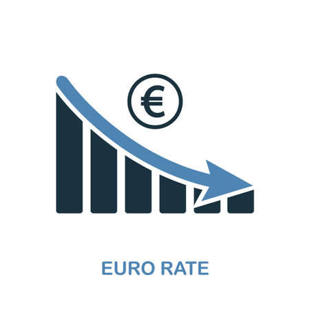 Euro Rate Decrease Graphic icon. Monochrome style design from diagram collection. UI. Pixel perfect simple pictogram euro rate decrease graphic icon. Web design, apps, software, print usage.