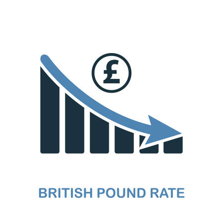 British Pound Rate Decrease Graphic icon. Monochrome style design from diagram collection. UI. Pixel perfect simple pictogram british pound rate decrease graphic icon. Web design usage.
