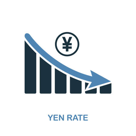 Yen Rate Decrease Graphic icon. Monochrome style design from diagram icon collection. UI. Pixel perfect simple pictogram yen rate decrease graphic icon. Web design, apps, software, print usage.