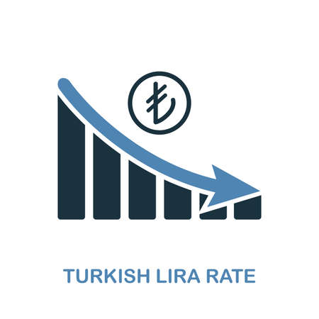 Turkish Lira Rate Decrease Graphic icon. Monochrome style design from diagram icon collection. UI. Pixel perfect simple pictogram turkish lira rate decrease graphic icon. Web design usage.