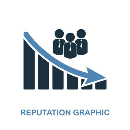 Reputation Decrease Graphic icon. Monochrome style design from diagram icon collection. UI. Pixel perfect simple pictogram reputation decrease graphic icon. Web design, apps, software, print usage.
