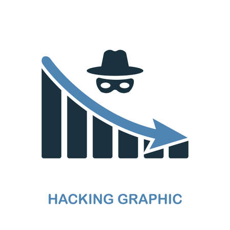Hacking Decrease Graphic icon. Monochrome style design from diagram icon collection. UI. Pixel perfect simple pictogram hacking decrease graphic icon. Web design, apps, software, print usage.