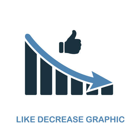 Like Decrease Graphic icon. Monochrome style design from diagram collection. UI. Pixel perfect simple pictogram like decrease graphic icon. Web design, apps, software, print usage.