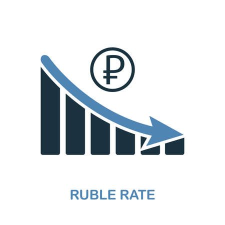 Ruble Rate Decrease Graphic icon. Monochrome style design from diagram collection. UI. Pixel perfect simple pictogram ruble rate decrease graphic icon. Web design, apps, software, print usage. Stock Illustratie