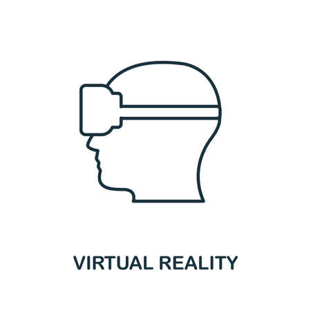 Virtual Reality icon. Monochrome style design from visual device collection. UI. Pixel perfect simple pictogram virtual reality icon. Web design, apps, software, print usage.
