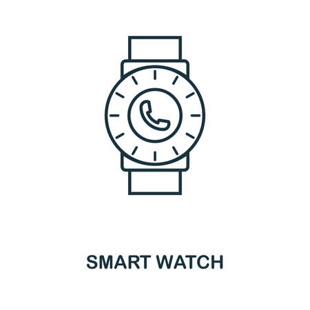 Smart Watch icon. Monochrome style design from visual device collection. UI. Pixel perfect simple pictogram smart watch icon. Web design, apps, software, print usage. Vettoriali