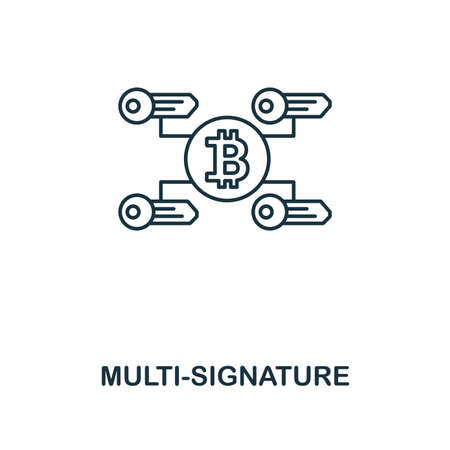 Multi-Signature outline icon. Monochrome style design from crypto currency collection. UI. Pixel perfect simple pictogram outline multi-signature icon. Web design, apps, software, print usage.