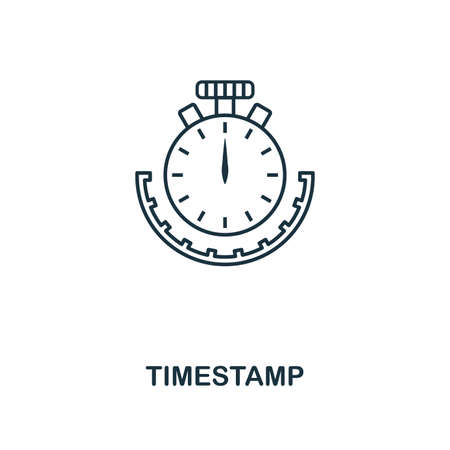 Timestamp outline icon. Monochrome style design from crypto currency collection. UI. Pixel perfect simple pictogram outline timestamp icon. Web design, apps, software, print usage.