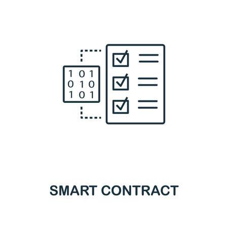 Icône de contour de contrat intelligent. Conception de style monochrome de la collection de devises crypto. UI. Pixel parfait simple pictogramme contour icône de contrat intelligent. Conception Web, applications, logiciels, utilisation de l'impression.