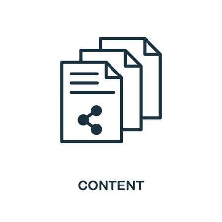 Icono de contenido. Diseño de estilo monocromo de la colección smm. UI. Pixel perfect pictograma simple icono de contenido. Diseño web, aplicaciones, software, uso de impresión.
