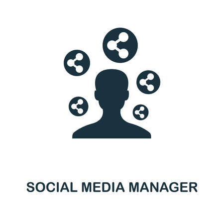 Social Media Manager icon. Monochrome style design from smm collection. UI. Pixel perfect simple pictogram social media manager icon. Web design, apps, software, print usage.