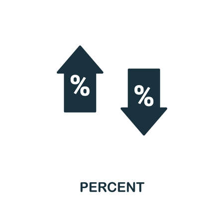 Percent icon. Monochrome style design from business icon collection. UI. Pixel perfect simple pictogram percent icon. Web design, apps, software, print usage. Illustration