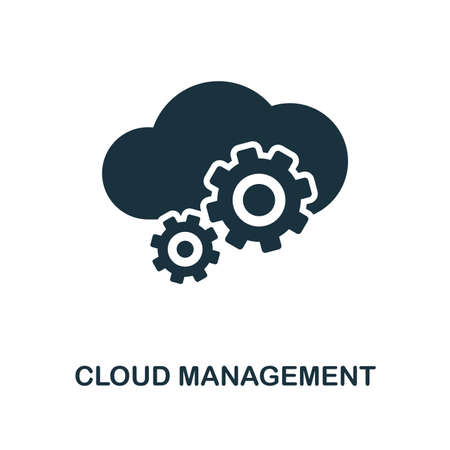 Cloud Management icon. Monochrome style design from big data collection. UI. Pixel perfect simple pictogram cloud management icon. Web design, apps, software, print usage. 向量圖像