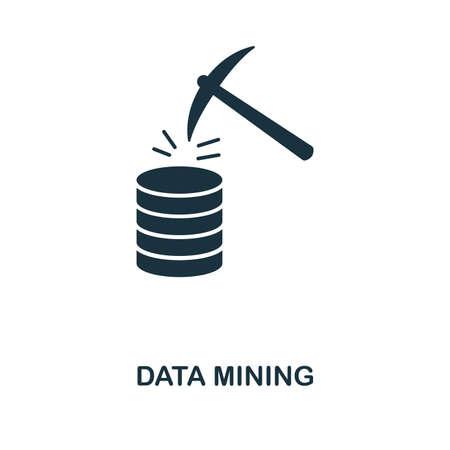 Data Mining icon. Monochrome style design from big data collection. UI. Pixel perfect simple pictogram data mining icon. Web design, apps, software, print usage. Vektoros illusztráció