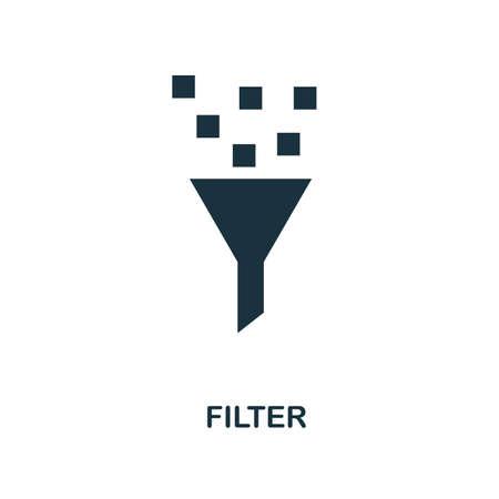 Filtersymbol. Monochromes Design aus der Big-Data-Sammlung. Benutzeroberfläche. Pixel perfektes einfaches Piktogrammfiltersymbol. Webdesign, Apps, Software, Drucknutzung.