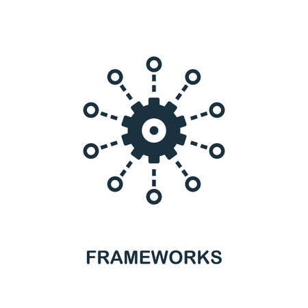 Frameworks icon. Monochrome style design from big data collection. UI. Pixel perfect simple pictogram frameworks icon. Web design, apps, software, print usage. Ilustração