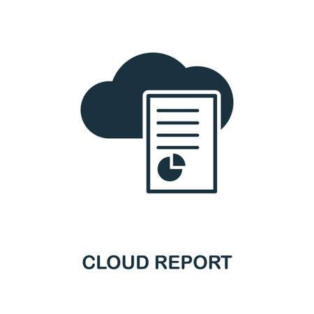 Icona Cloud Report. Design in stile monocromatico dalla raccolta di big data. UI. Pixel perfetto pittogramma semplice icona report cloud. Web design, app, software, utilizzo della stampa.