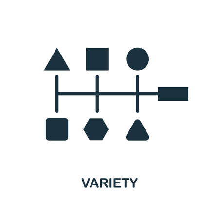 Variety icon. Monochrome style design from big data collection. UI. Pixel perfect simple pictogram variety icon. Web design, apps, software, print usage.