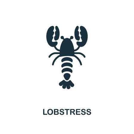 Lobster icon. Monochrome style design. UI. Pixel perfect simple pictogram lobster icon. Web design, apps, software, print usage.