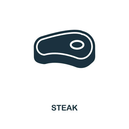 Steak icon. Monochrome style design. UI. Pixel perfect simple pictogram steak icon. Web design, apps, software, print usage.