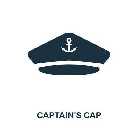 Captain's Cap-Symbol. Monochromes Design. Benutzeroberfläche. Pixel perfektes einfaches Symbol Kapitänskappensymbol. Webdesign, Apps, Software, Drucknutzung