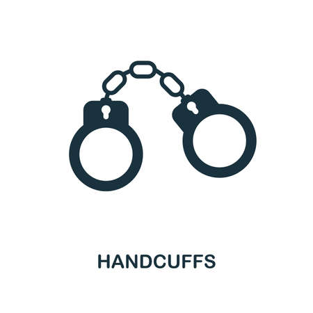 Handcuffs icon. Monochrome style design. UI. Pixel perfect simple symbol handcuffs icon. Web design, apps, software, print usage