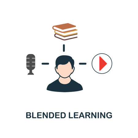 Blended Learning flat icon. Monochrome style design from online education collection. UX and UI. Pixel perfect flat blended learning icon. For web design, apps, software, printing usage. Illusztráció