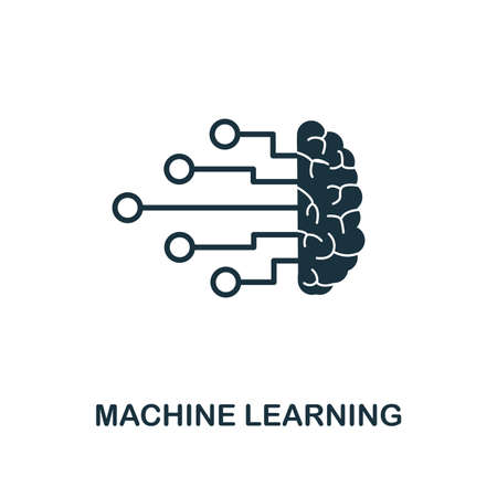 Machine Learning icon. Monochrome style design from machine learning collection. UX and UI. Pixel perfect machine learning icon. For web design, apps, software, printing usage. Stok Fotoğraf - 108745601
