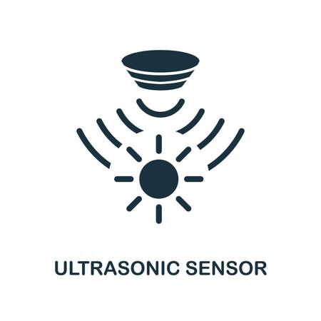 Icône de capteur à ultrasons. Conception de style monochrome de la collection de capteurs. UX et UI. Icône de capteur à ultrasons parfait pixel. Pour la conception Web, les applications, les logiciels, l'utilisation de l'impression. Vecteurs