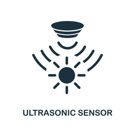 Ultrasonic Sensor icon. Monochrome style design from sensors collection. UX and UI. Pixel perfect ultrasonic sensor icon. For web design, apps, software, printing usage. Vector Illustration