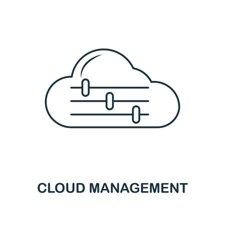 Cloud Management outline icon. Premium design from web development collection. UX and UI. Pixel perfect cloud management icon. For web design, apps, software, printing usage. Vector Illustration