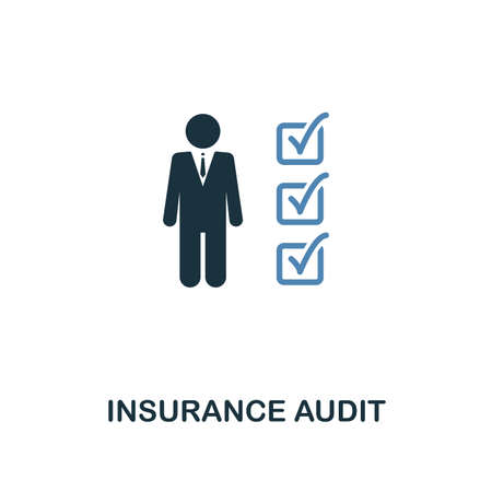 Insurance Audit icon in two color design. Line style icon from insurance collection. UX and UI. Pixel perfect premium insurance audit icon. For web design, apps, software and printing.