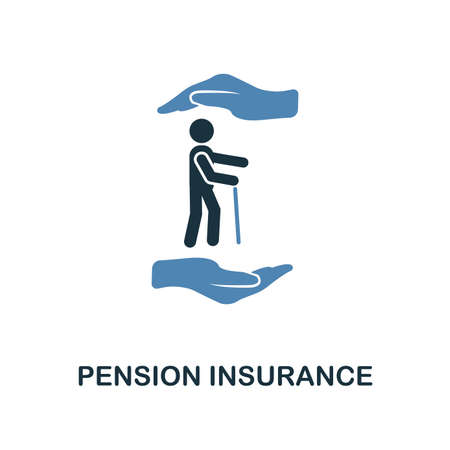 Icona di assicurazione pensionistica in due colori design. Icona di stile di linea dalla collezione di assicurazioni. UX e interfaccia utente. Pixel premium perfetta assicurazione pensione icona. Per web design, app, software e stampa.
