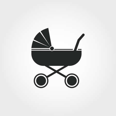 Icône de poussette. Conception de style monochrome de la collection de choses pour bébé. UI. Icône de poussette simple pictogramme parfait pixel. Conception Web, applications, logiciels, utilisation de l'impression.