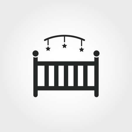 Icône de lit bébé. Conception de style monochrome de la collection de choses pour bébé. UI. Icône de lit simple pictogramme simple parfait pixel. Conception Web, applications, logiciels, utilisation de l'impression. Vecteurs