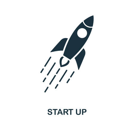 Start Up icon. Monochrome style design from blockchain collection. UX and UI. Pixel perfect start up icon. For web design, apps, software, printing usage.